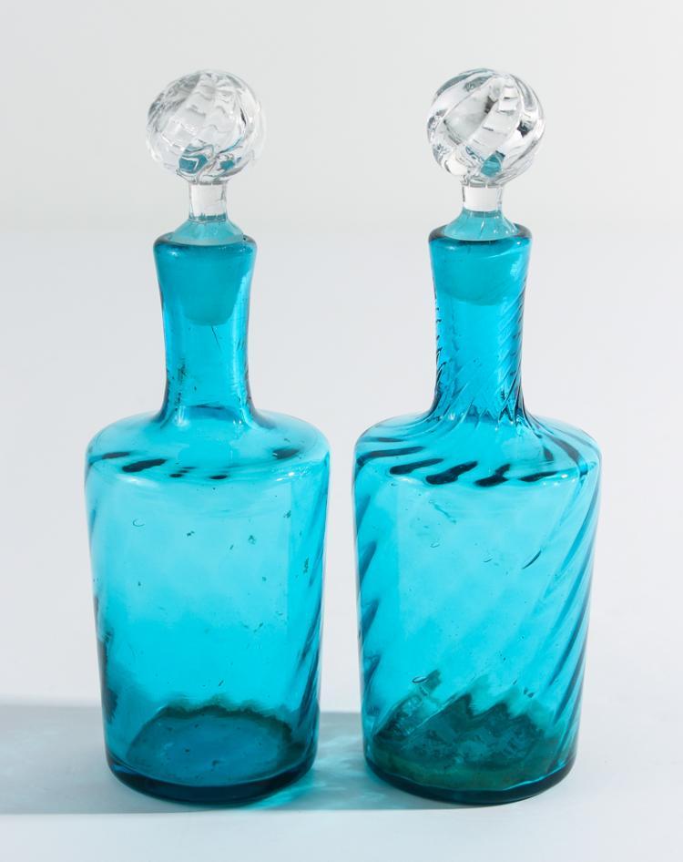 Aqua Blue Swirl Bottles