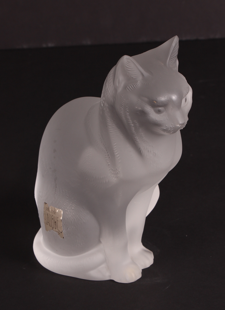 Cristal Lalique Cat Figurine