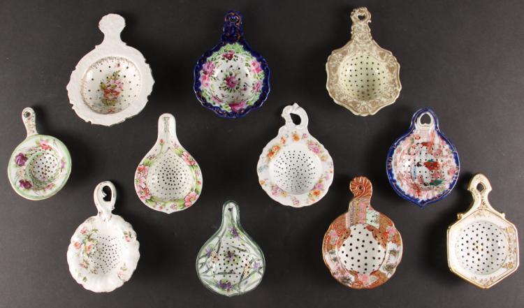 Eleven Victorian Era Porcelain Tea Strainers