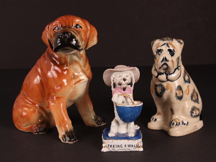 Three Ceramic Dog Figurines