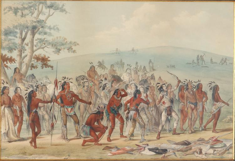 George Catlin, Archery of the Mandans hand colored lithograph