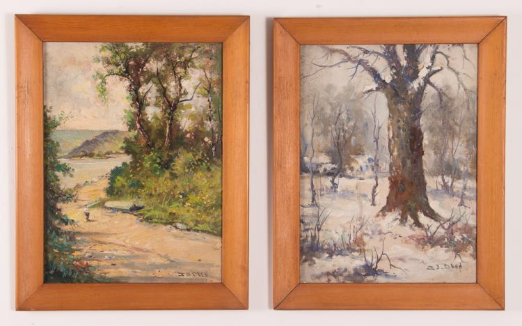 2 Ira J. Deen oil landscapes, Coxtown Clear Cool