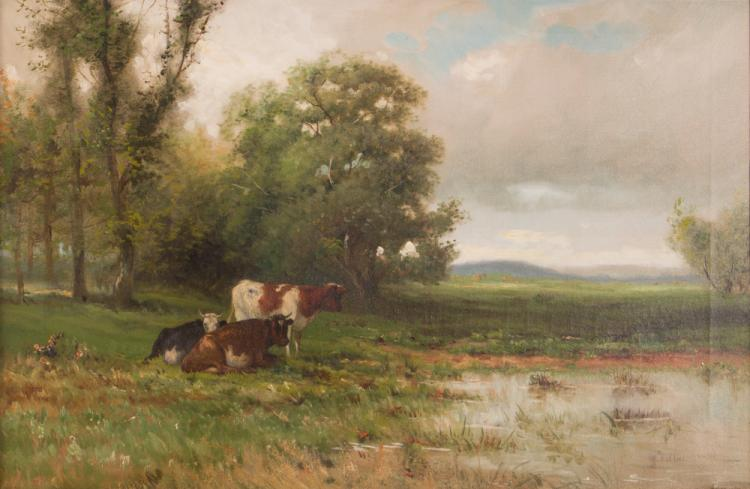 19th or Early 20th Century ptg. Cows Grazing in Wetlands