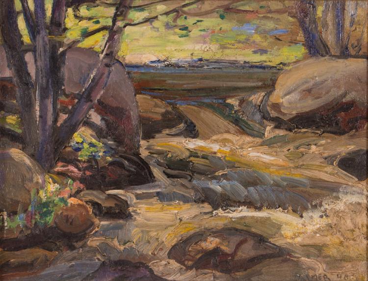 Myron Tim Palmer 1940 ptg. Rushing Stream