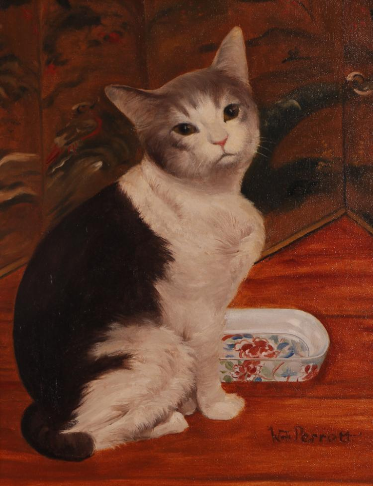 William Perrott Painting of a Cat