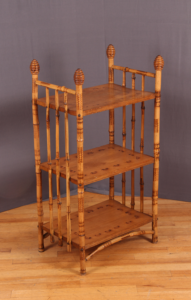 Antique Three Shelf Bamboo Stand