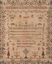 Eliza Spooner 1833 Needlepoint Sampler