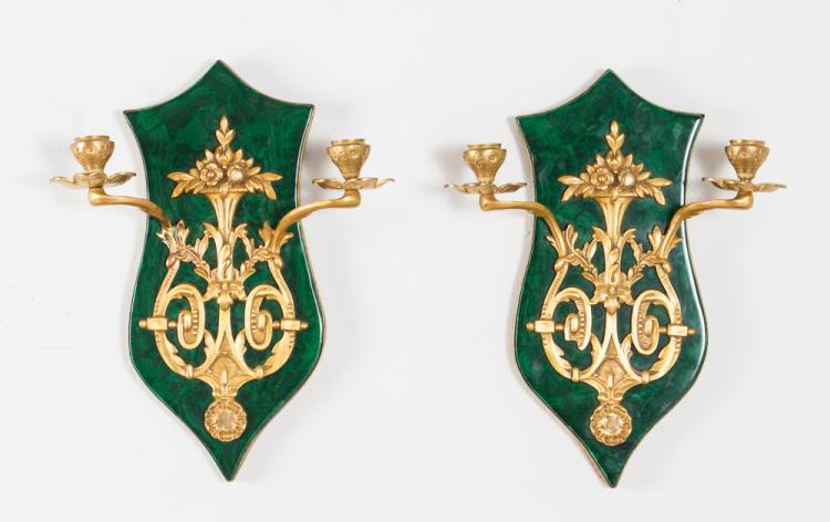 Pair of Ormolu and Faux Malachite Sconces