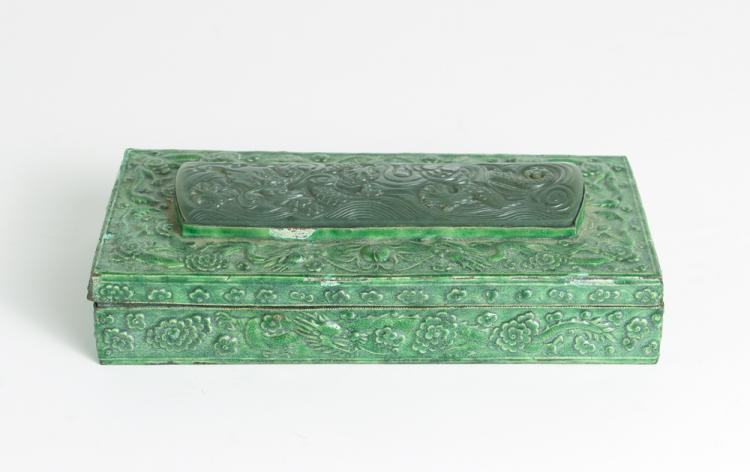 Asian Enameled Covered Box with Carved Jade/Nephrite Decoration