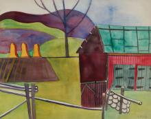 Esther Phillips Watercolor Abstracted Barn and Field