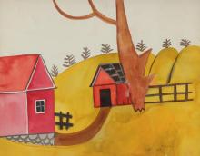 Esther Phillips Watercolor Abstracted Tree and House