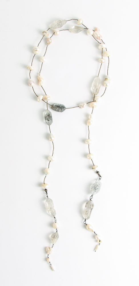 Ladies Lariat Necklace with Quartz and Pearls