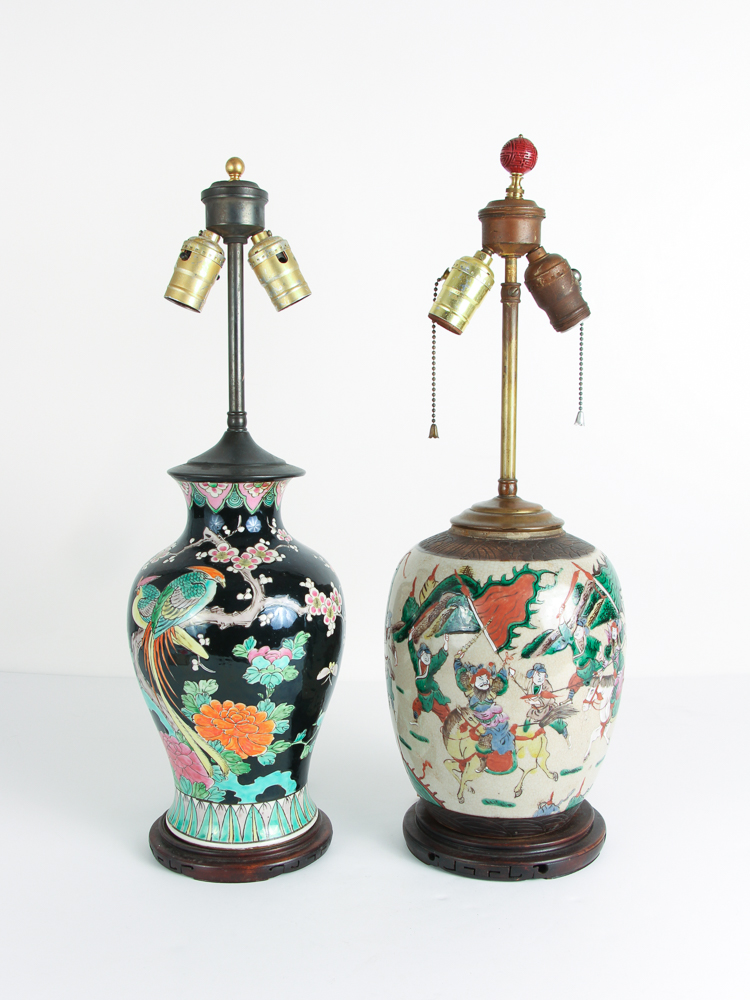 2 Chinese ceramic Vases converted to lamps