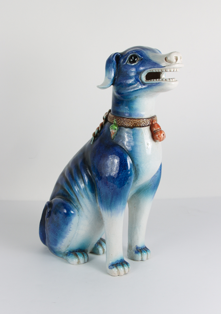 Large Ceramic Blue Glazed Dog