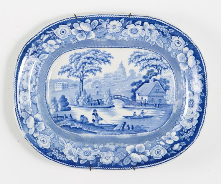 Two Blue and White English Platters
