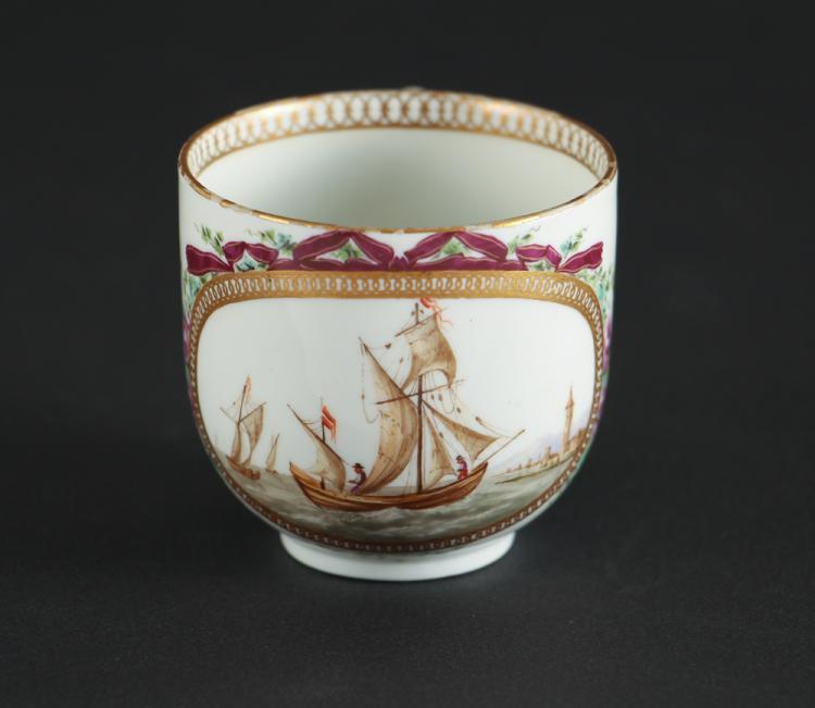 Antique Meissen Cup with Harbor Scene