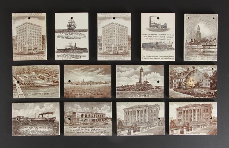 Thirteen Jones McDuffee Wedgwood Calendar Tiles