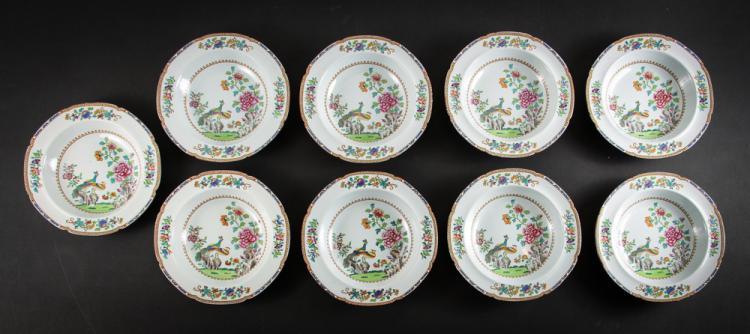Nine Spode Peacock Soup Bowls