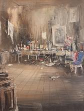 Riccardo Magni 1950's gouache The Artist's Studio