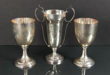 Three Sterling Silver Golf Trophies