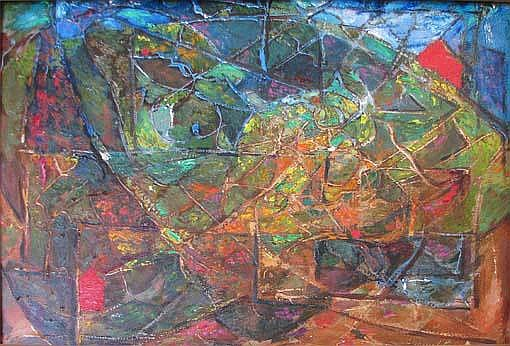 Samuel Rosenberg Abstract Painting on masonite panel