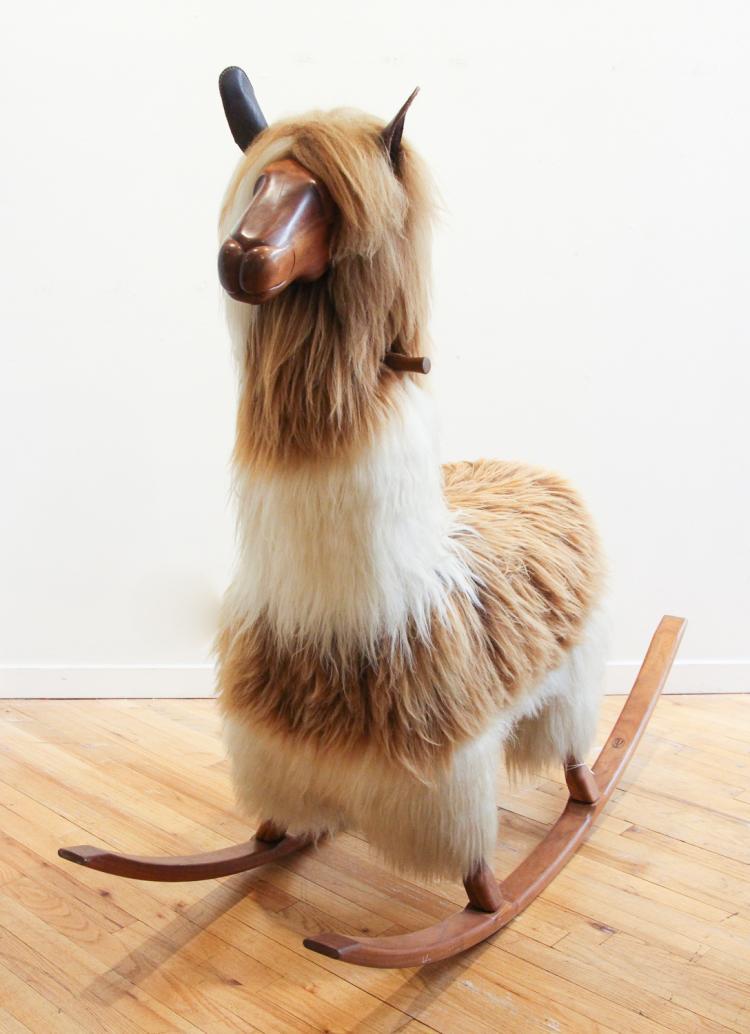 Large Walnut Llama Fur Rocker