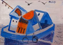 Esther Phillips gouache of Fishing Boat