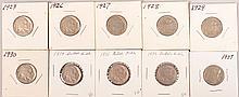 1923,1926-1930,1934-1937 Buffalo Nickels 1per yr 10pcsvery good