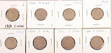 1900,1902-05,1910-12 V Nickels 8pcs
