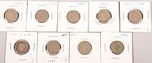 1902-03,1905-08,1910-12 V Nickels 9pcs