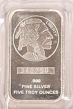 5ozt .999 fine silver Buffalo Bar