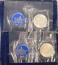 2- 1971-S  Eisenhower Silver Dollars Blue Pack