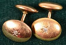 10KT Gold Cuff Links w/.10ct VS Dia accent