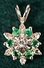 Emerald & Diamond Pendant 14kt