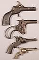 Lot of (4) small cast iron cap pistols 2-3/4