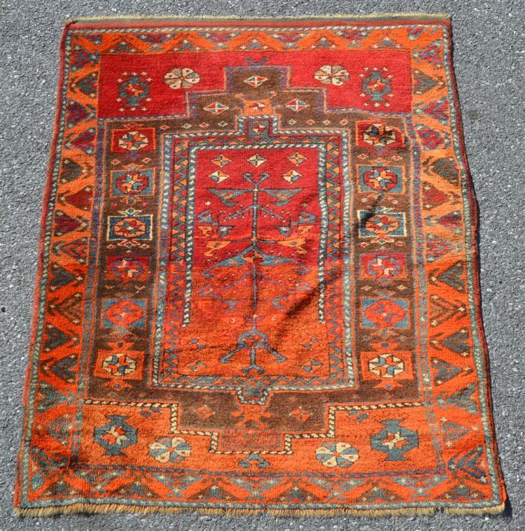 Antique Oriental Floral Pattern Area Rug