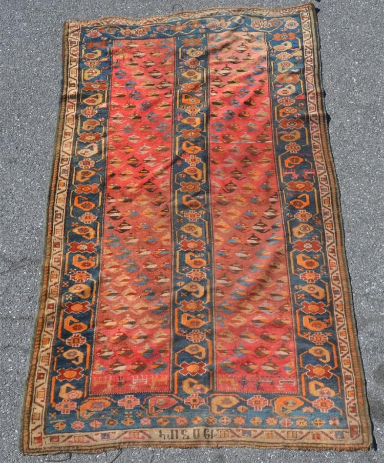 Antique geometric pattern oriental area rug for Geometric print area rugs
