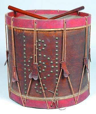 Circa 1840 tack decorated snare drum 16-1/2