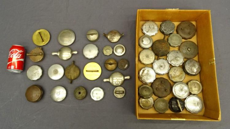 Antique Vehicle Threaded Radiator and Gas Cap Lot