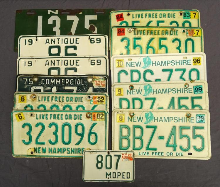1918-1999 New Hampshire License Plate Lot