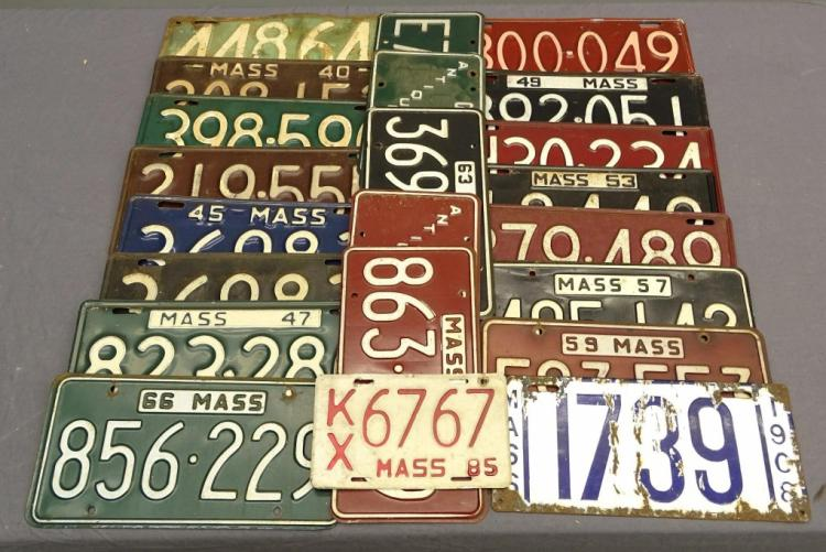 1908-1966 Massachusetts License Plate Lot