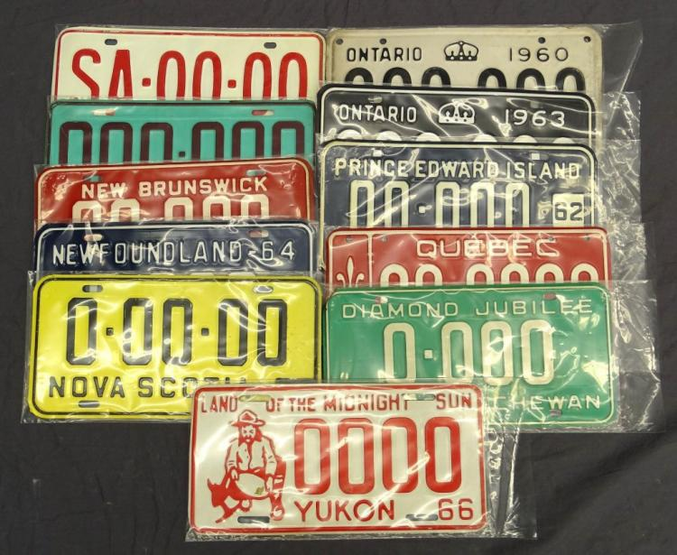 Canadian Provinces Sample License Plate Lot