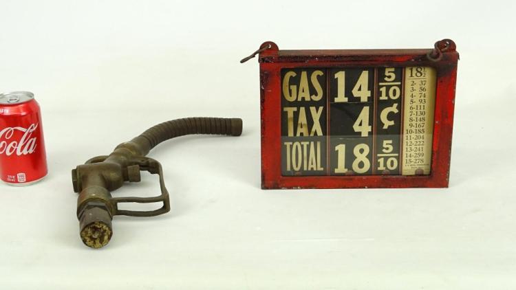 Antique Gas Pump Sign and Buckeye Gas Pump Nozzle