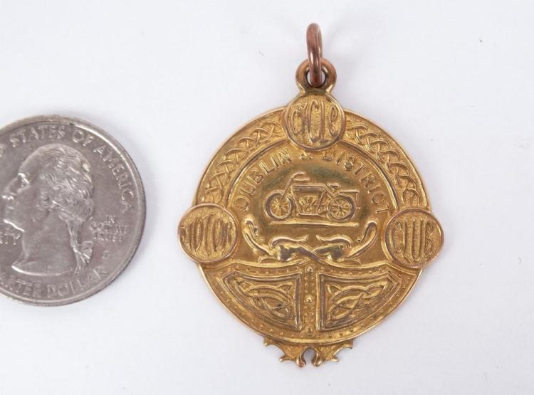 1921 14 Karat Gold Motorcycle Medallion