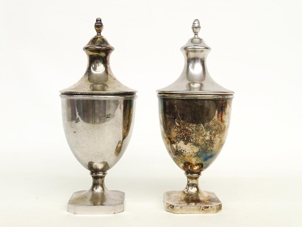 Pair Sheffield Federal Sugar Urns