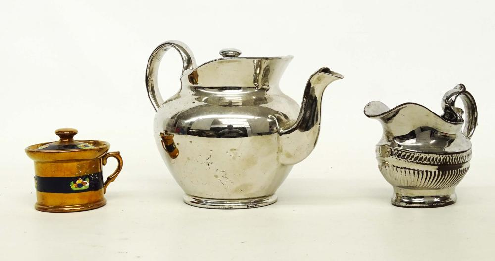 19th c. Silver Luster Teapot Lot