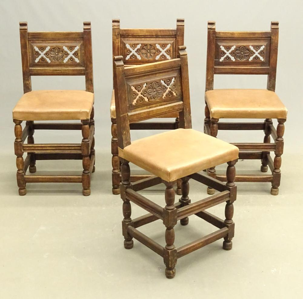 Set of (4) 17th c. Carved Continental Chairs