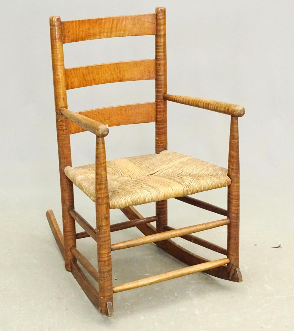19th c. Tiger Maple Rocking Chair