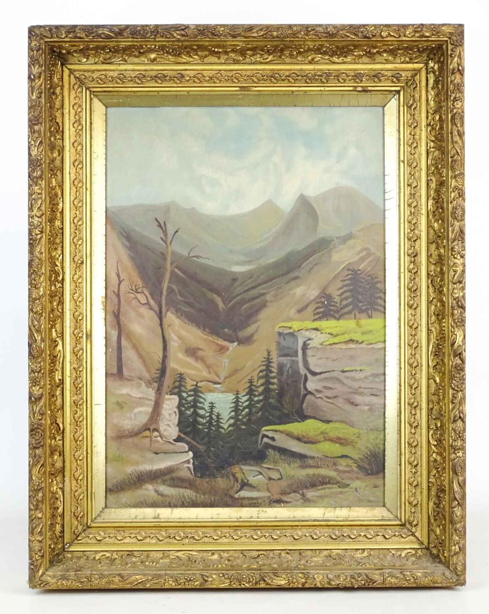 19th c. Primitive Landscape Painting