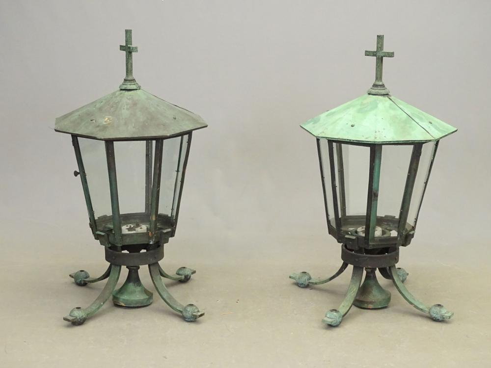 Pair Copper & Bronze Lanterns